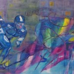 series speed skating Der Lauf der Dinge II, 2012, acrylic on canvas,60x100