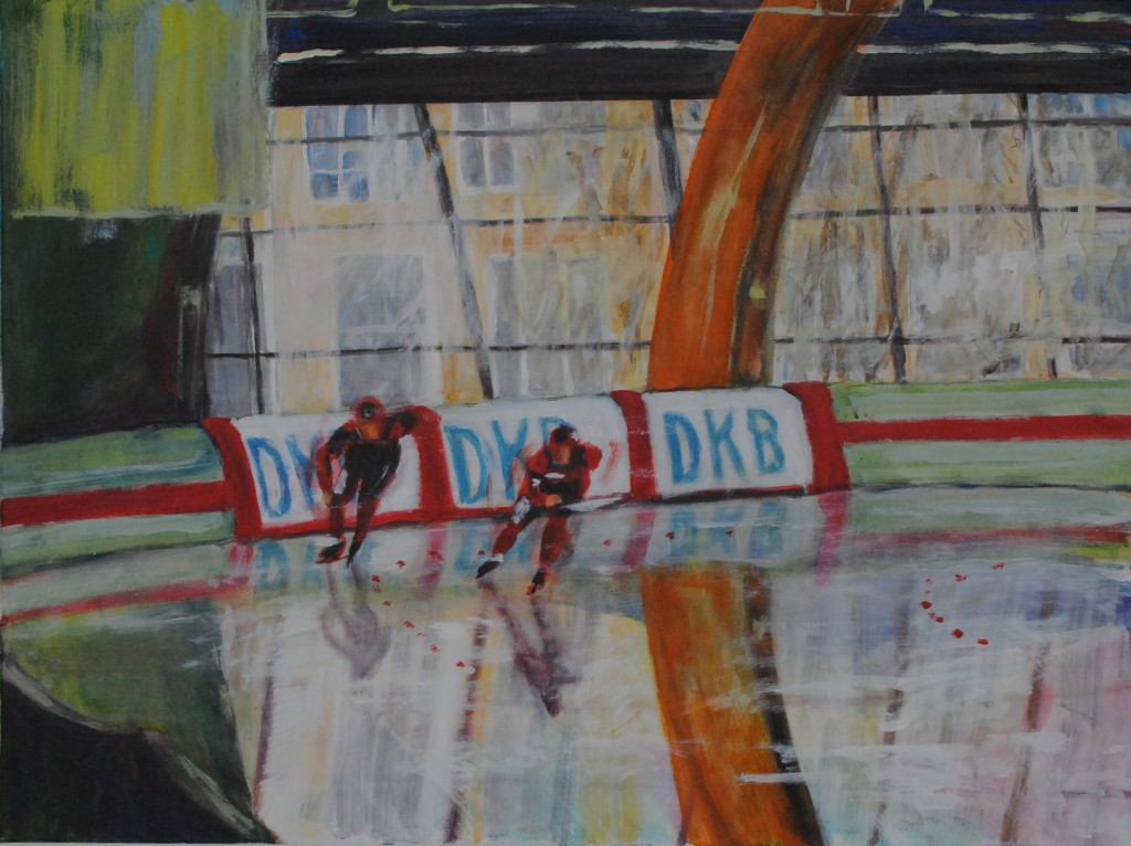 series speed skating - approach run, 2011, acrylic on canvas, 60x80