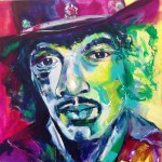 series Celebrities , Jimi Hendrix II,  2014, acrylic on canvas, 100x100