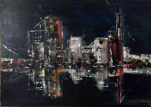 nighttime reflections - city faces